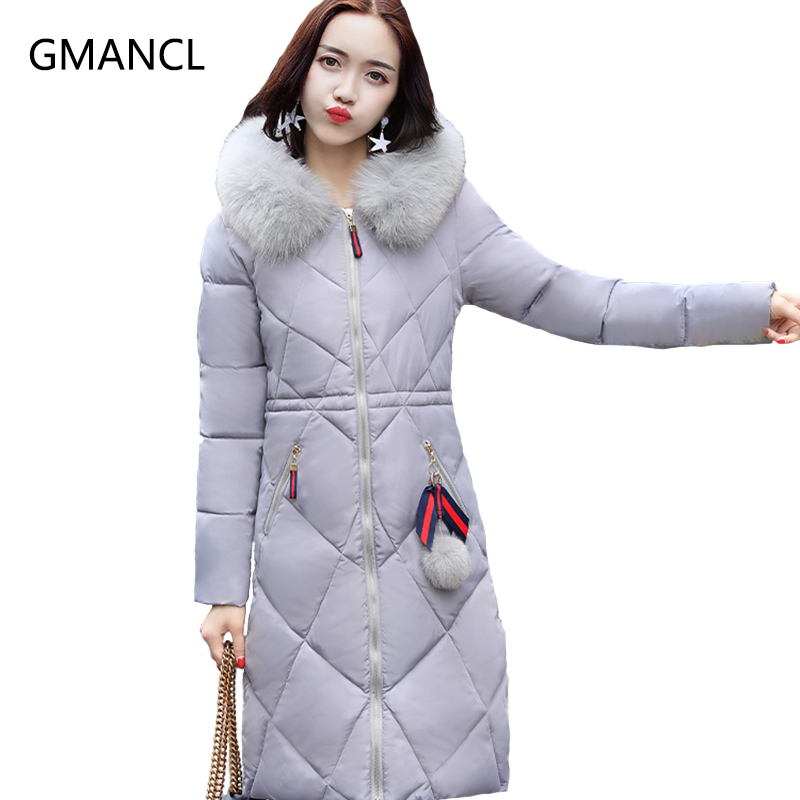купить 2017 Women Warm Winter Coat Jacket Women Parka Hoody Long Thick Overcoat Slim Parkas Coats  M~2XL With Big Fur Collar M030 дешево