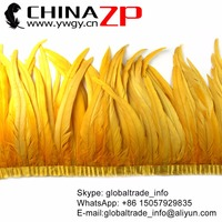 Leading Supplier CHINAZP Trimming Feathers New Arrival Prime Quality Golden Yellow Rooster Tail Feather Fringe Wholesale