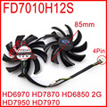 2pcs/lot Firstdo FD7010H12S 85mm HD6850 HD6970 HD7870 2G HD7950 HD7970 Sapphire Graphics Card Cooling Fan 4Pin