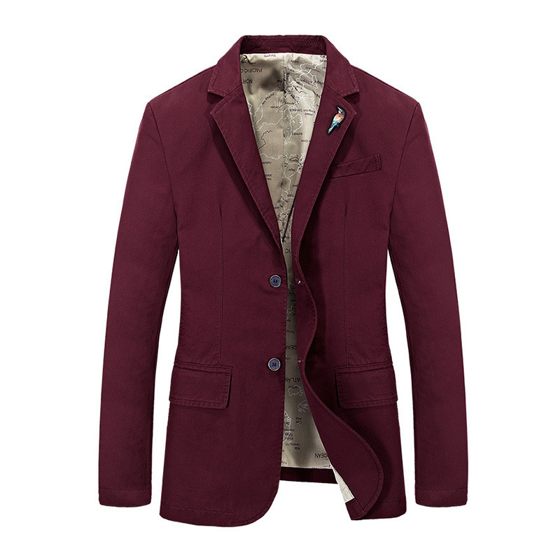 Loldeal Men Suit Blazer British's Style casual Slim Fit suit jacket male Blazers men coat Casual Solid Terno Masculino Red wine