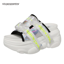 VIISENANTIN muffin heel women summer slipper shoe real leather cake slope high heel cool slides leisure lazy slip on woman shoe u best sex shoe high heel sofa chair indoor fiberglass shoe shape chair for leisure