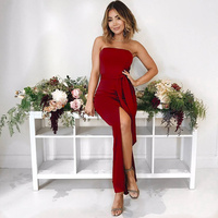 2017 New Design Women Girl Fashion Off Shoulder Sexy Red Long Strapless Front High Slit Sleeveless