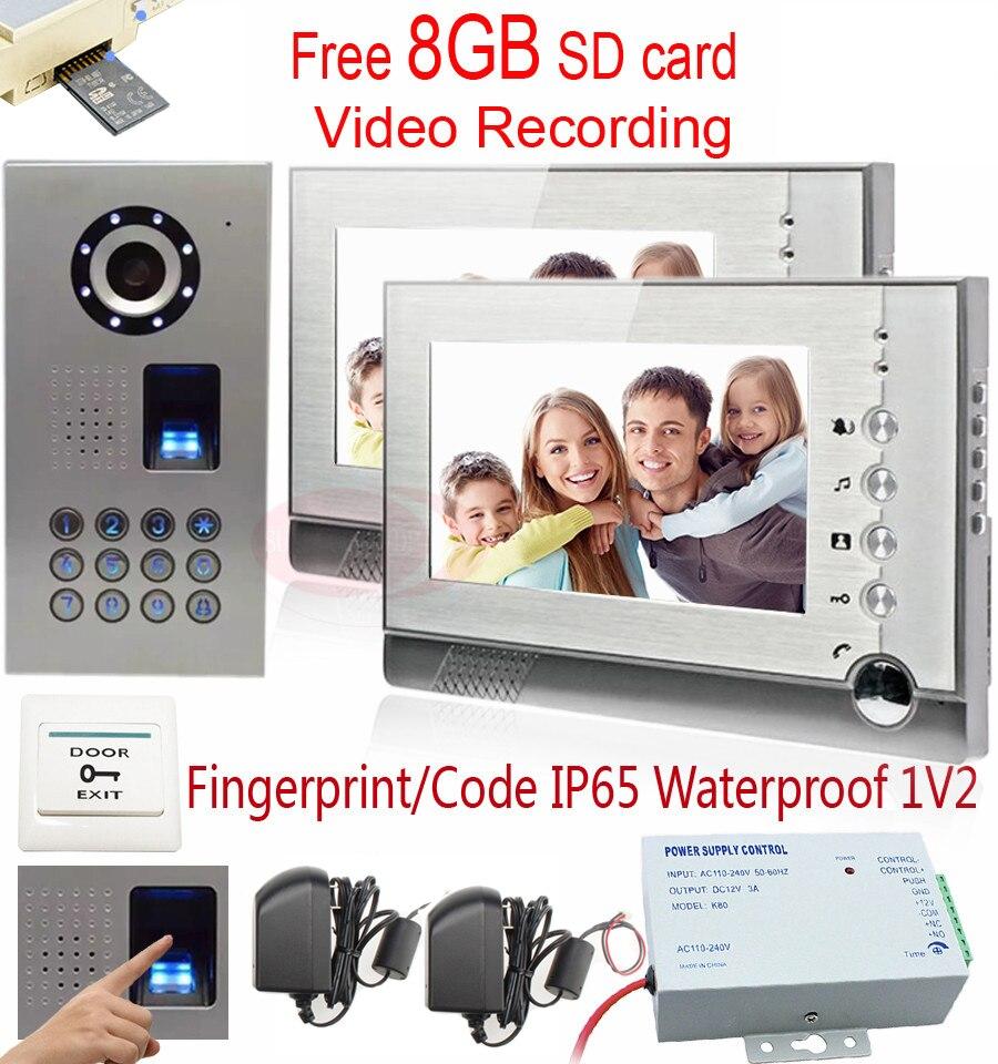 Видеодомофоны Запись 8 ГБ SD карты видео Запись 2 Мониторы домофона отпечатков пальцев/код разблокировки CCD Камера IP65 Водонепроницаемый