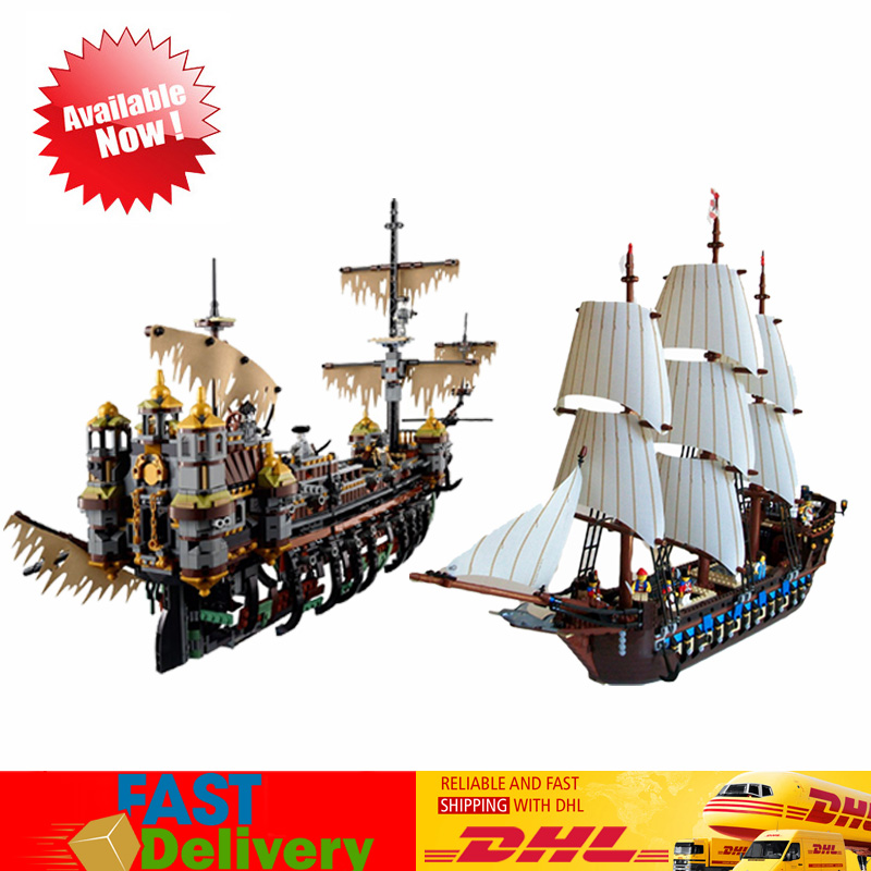 LEPIN 16042 Pirate of The CaribbeanThe Slient Mary +22001Pirates The Flagship Huge Ship Blocks Compatible LegoINGlys 71042 10210 lepin 16042 2344pcs pirate of the caribbean the slient mary set 16006 the black pearl ship building blocks bricks toys 71042