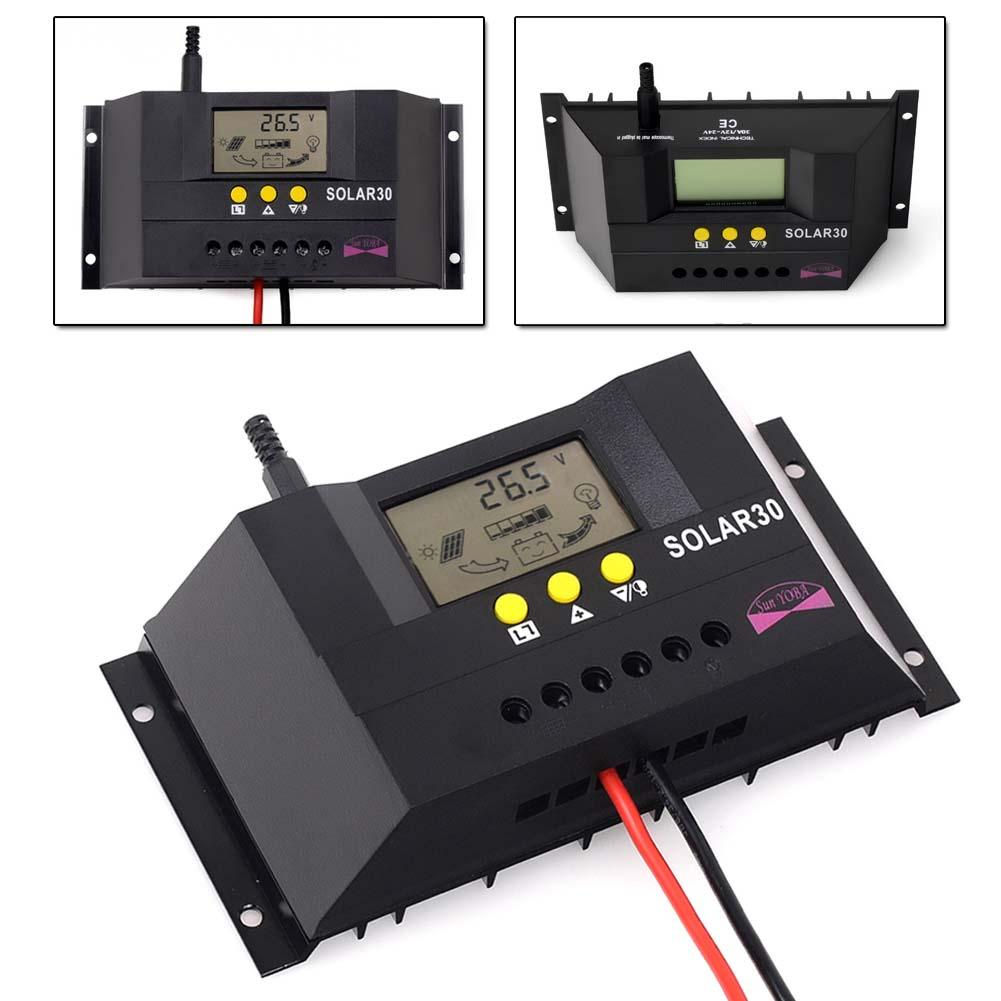 3PCS 30A 12 24V Solar Controller Regulator Charge Battery Safe Protection with CE RoHS LCD auto
