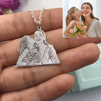 925 Sterling Silver Custom Photo Necklace Personalized Photo Customized Necklace & Pendant With Chain Word Engraved Jewelry