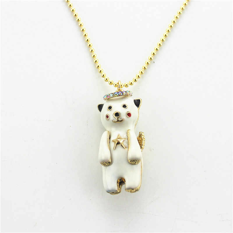XQ The new factory of luxury fashion jewelry, Ms. Angel Bear enamel necklace wholesale gift
