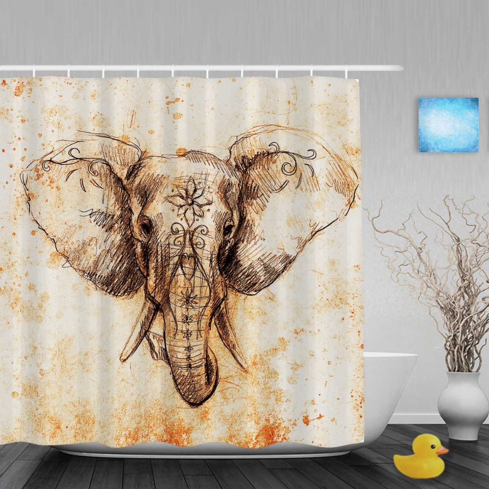 Vintage Style Elephant Elephant Decor Shower Cutains Animals Home Decor Bathroom Curtains Polyester Waterproof Fabric With Hooks