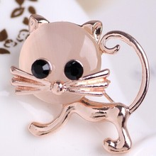 Luxurious Trendy Rose Gold Cat Rhinestone Brooches For Woman Fashion Colar Hijab Pins And Broach Best Wedding Jewelry Broche Men