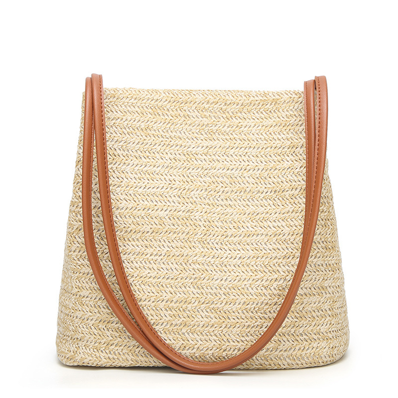 Donne Tote brown Shopping Eshineder Spiaggia Beach Marca Beige Bag Borse Di Della Da Stile Viaggio Spalla Estate Paglia Delle Borsa Tessuto grigio zRgIqRSn