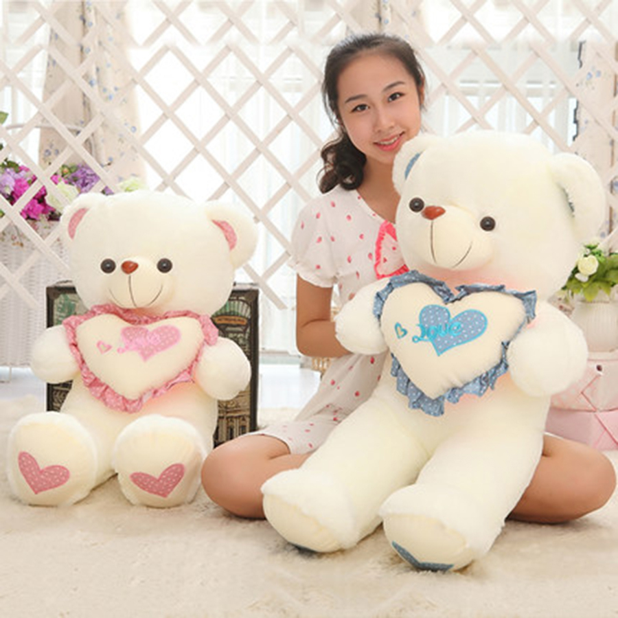 Stuffed Teddy Bear With Heart Plush Toys Soft Pillow Kawaii Birthday Gifts For Girls Sleeping White Teddy Bear Plush Toy 70C234 giant teddy bear plush soft toys doll bear sleep girls gifts birthday kawaii large teddy bear stuffed animal plush toy 70c0426