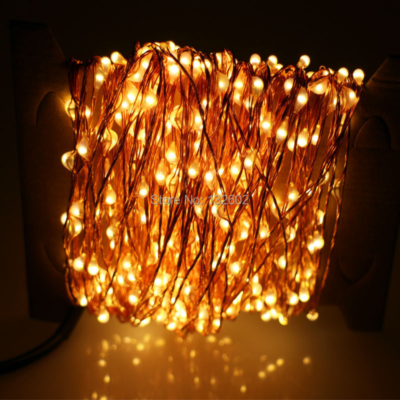 30m 300 LED Outdoor Christmas Fairy Lights Warm White Copper Wire LED String Lights Starry Light ...