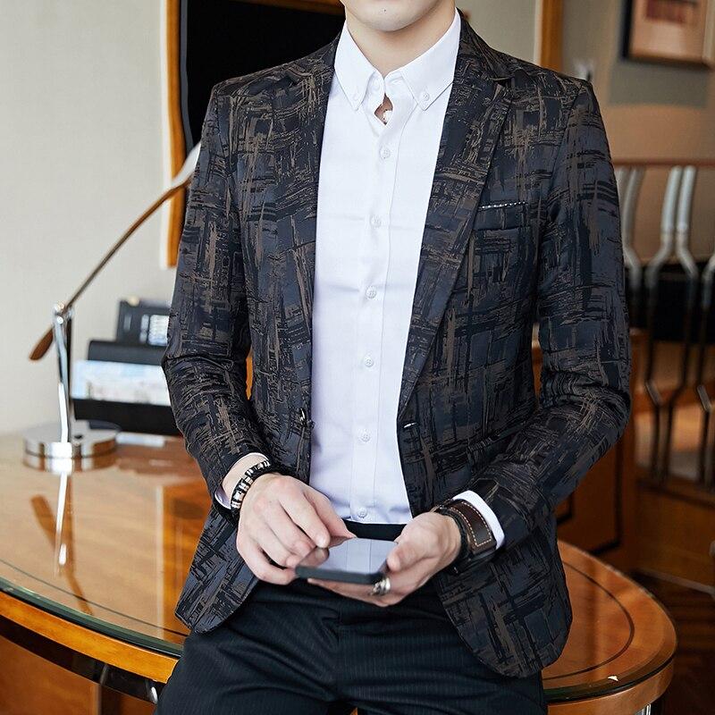 Elegant Dark Print Dinner Blazer  Xadrez Masculino One Button Business Casual Mens Stylish Blazer Homme Slim Fit Prom Jacket