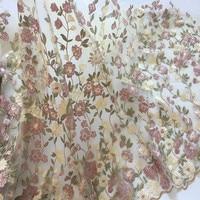 1 Cour Maille Broderie Fleur De Tissu Africain Matériel De Lacet Couture Robe De Soirée De Mariage Vêtements Brodé Tissu Patchwork Diy