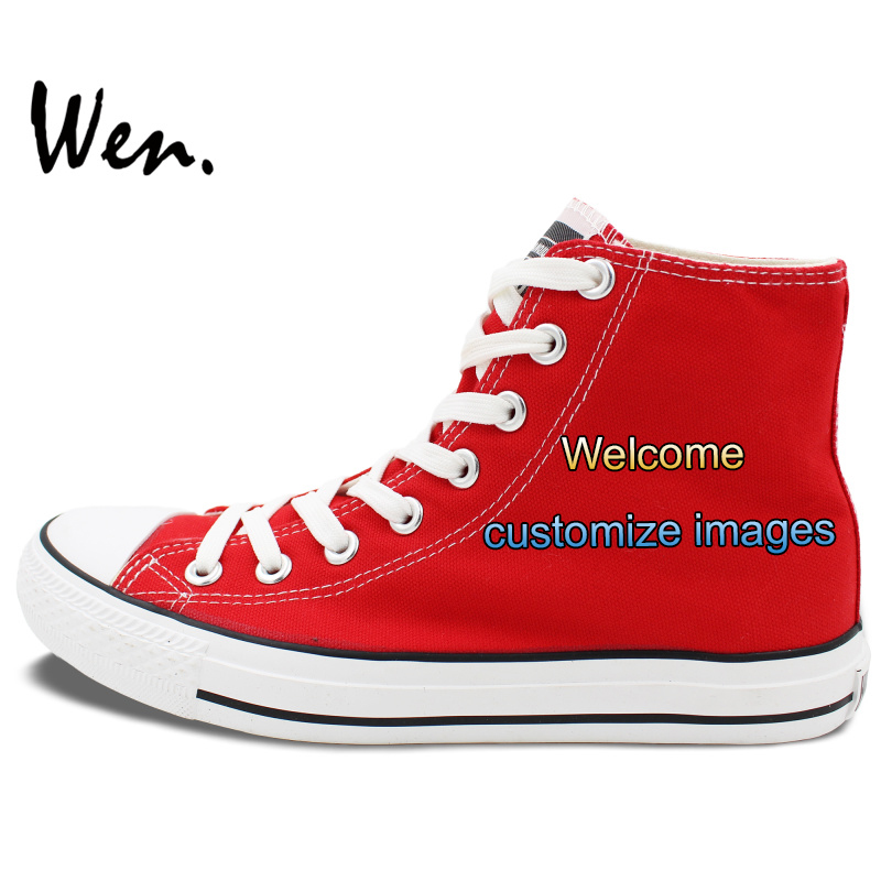 Wen Red Hand Painted Shoes Customize High Top Canvas Sneakers Offer Pictures You Like Accept Bargain According to ComplexityWen Red Hand Painted Shoes Customize High Top Canvas Sneakers Offer Pictures You Like Accept Bargain According to Complexity