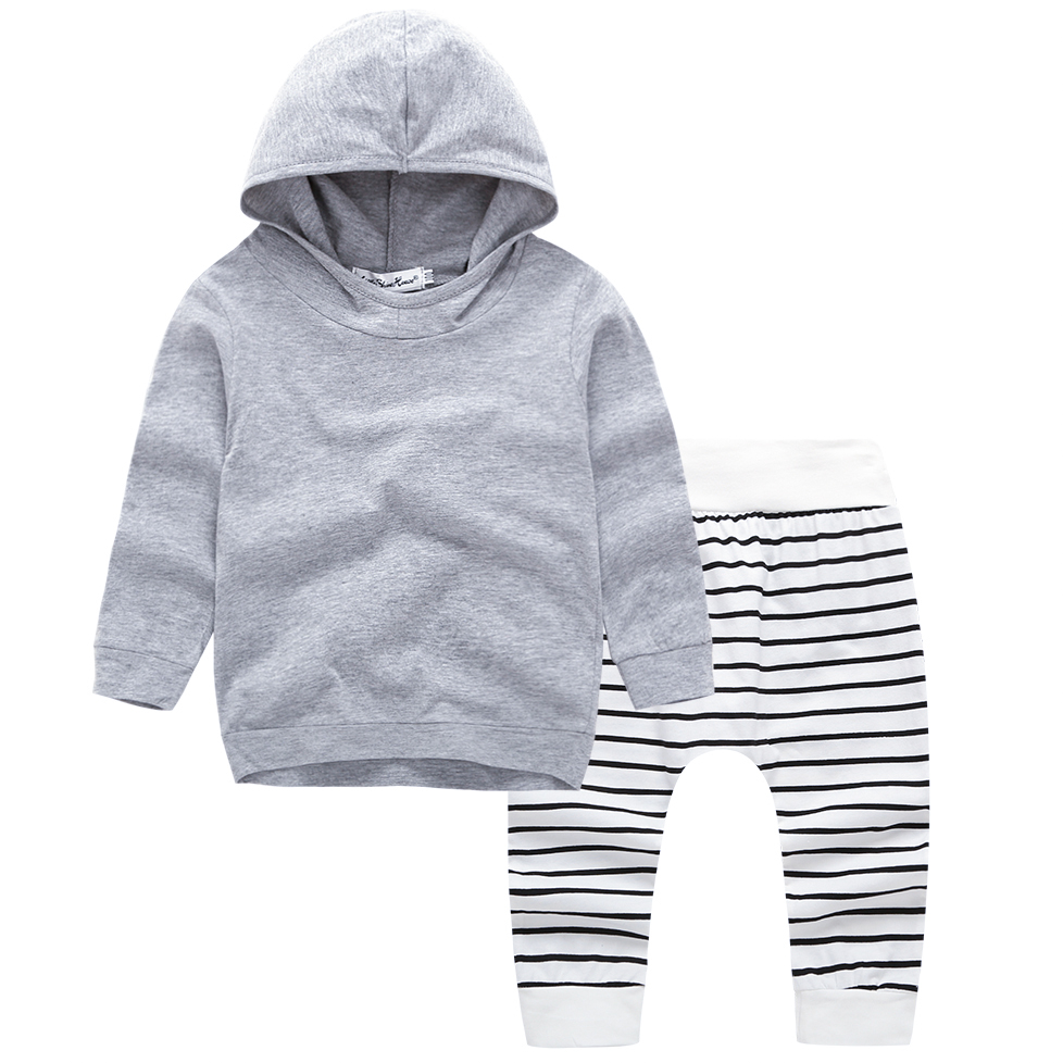 Autumn Newborn Baby Boys Full Sleeves Stripe Tops+Pant Infant Outfit Outwear Set
