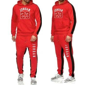 two piece set men outfits winter warm tracksuit men fashion sport shoes jordan hoodie sweatpants velvet sweatsuit jogging set