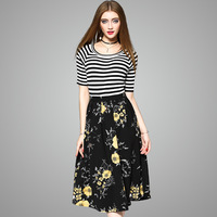 Europe And The United States 2017 Spring New Women S Short Sleeve Patchwork O Neck Dress