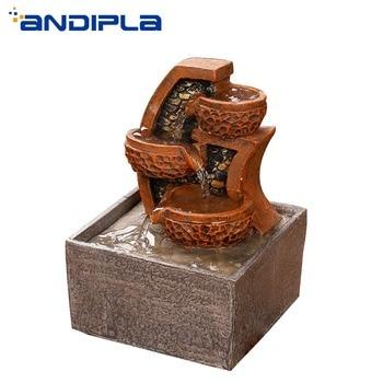 110V-240V Lucky Water Fountain Office Feng Shui Desktop Retro Resin Bonsai Ornament Home Decor Humidifier Business Wedding Gift