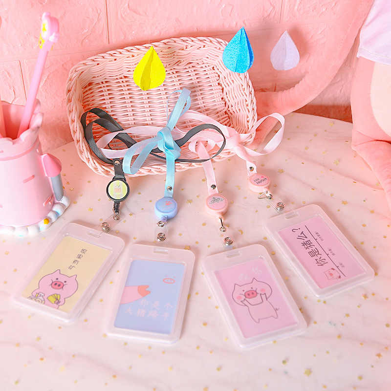 Leuke Lanyard Intrekbare Transparante Badge Kaarthouder Vrouwen Kids Cartoon Touw Hang Hals Student Visitekaartje Pass Holder Case