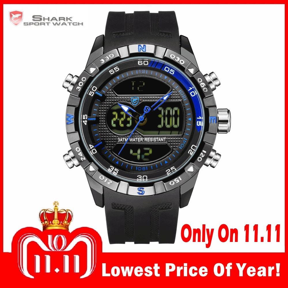 Fashion Hooktooth SHARK Brand Business Men Clock LCD Auto Date Alarm  Stopwatch Chronograph Black Runing Quartz Sport Watch SH600 42d02625a74