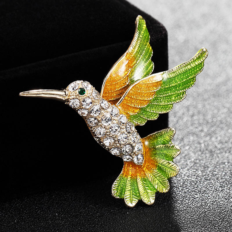 blucome Enamel Hijab Accessories Fashion Bird Brooch For Women Perfect rhinestone Crystal Broches Bags Bijuteriras Broaches