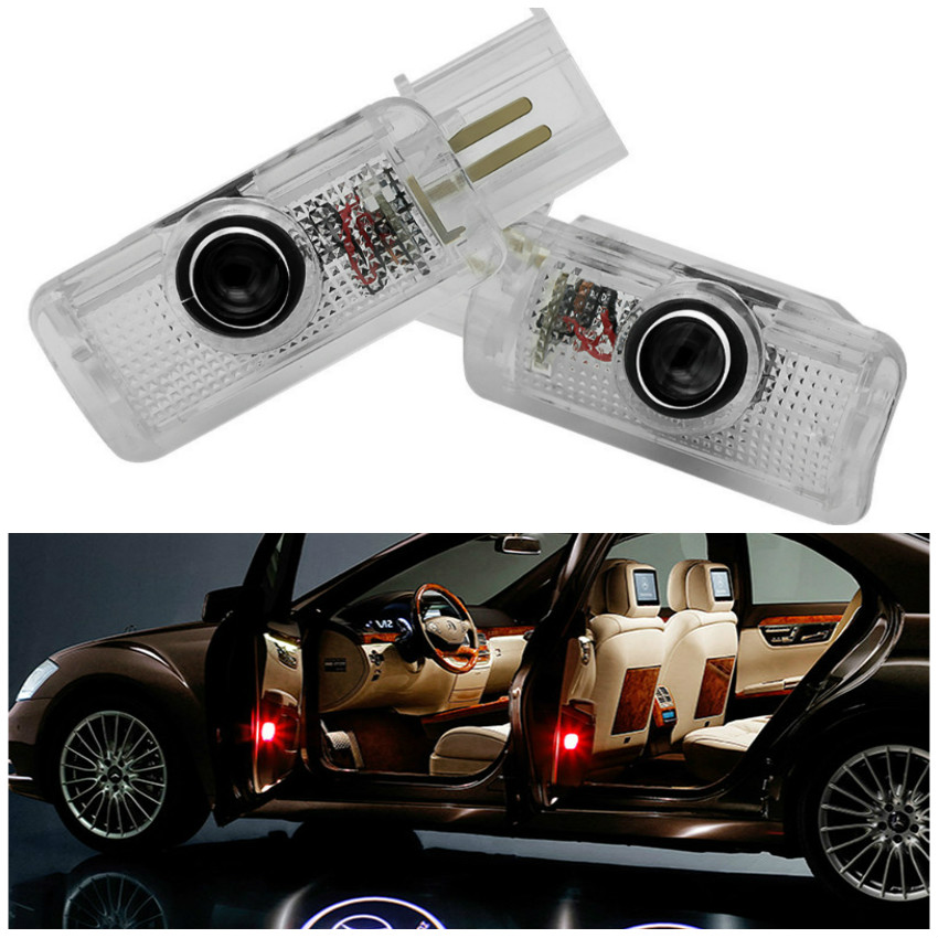 2x LED Car Door Warning Light Logo For Mercedes Benz W164 W215 AMG R350 R300 R320 R400 R500 ML500 ML350 ML320 ML300 ML450