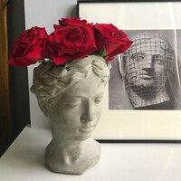 Портрет Скульптура Красота Фея цветочный горшок греческой богини леди лицо Цветочная композиция ваза цемента грубой и красивый Декор для д