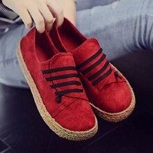 Повседневная обувь женщины мокасины обувь досуг скраб уютная квартира с круглым носком твердые рома красные туфли