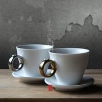 ブランド日本brieftスタイルセラミックカップやマグカップ徳町クリエイティブホワイト施釉ミルクコーヒーマグスライバー金色磁器カップ