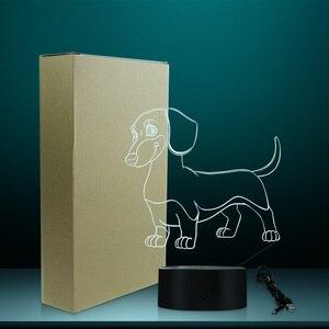 Image 5 - 소시지 개 닥스 훈트 키드 룸 나이트 라이트 테이블 램프 위너 개 애완 동물 강아지 빛나는 LED 착시 램프 장식 조명