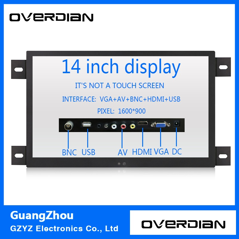 14 VGA/HDMI/BNC/AV/USB Interface Industrial Control Lcd Non-Touch Monitor Metal Shell Black Embedded Frame1600*900 11 6 inch metal shell lcd monitor open frame industrial monitor 1366 768 lcd monitor mount with av bnc vga hdmi usb interface