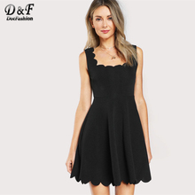 Dotfashion Scalloped Fitted & Flared Tank Dress 2017 Sleeveless Zip Short Dress Women Black Square Neck A Line Cute Dress