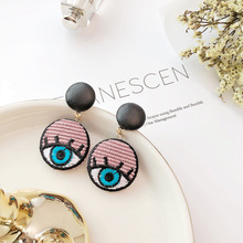 hot deal buy netury women cartoon eyes stud earrings hand made embroidery evil eyes leather earrings funny buttons fashion cute girl jewelry
