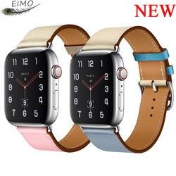 Хохлатый ремешок для Apple Watch группа iwatch Группа 42 мм 38 44 40 Корреа из коровьей кожи