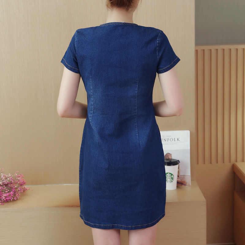 Пляжное джинсовое платье большого размера женское винтажное летнее платье с коротким рукавом Vestidos женское тонкое офисное платье с v-образным вырезом джинсовая футболка платье 2019