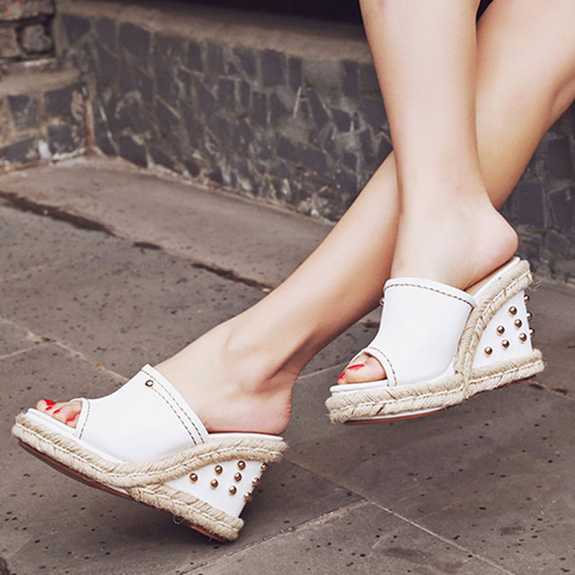 Womens chic Peep Toe Platform Wedge Rivet Slingbacks Mesh Slipper Sandals Shoes