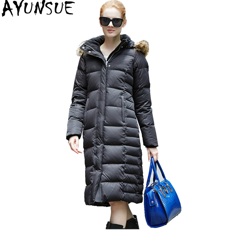 AYUNUSE 2018 Winter   Down   Jacket For Women 85% White Goose   Down     Coat   With Real Fur Collar Hooded Long Thick Overcoat Parka WYQ796