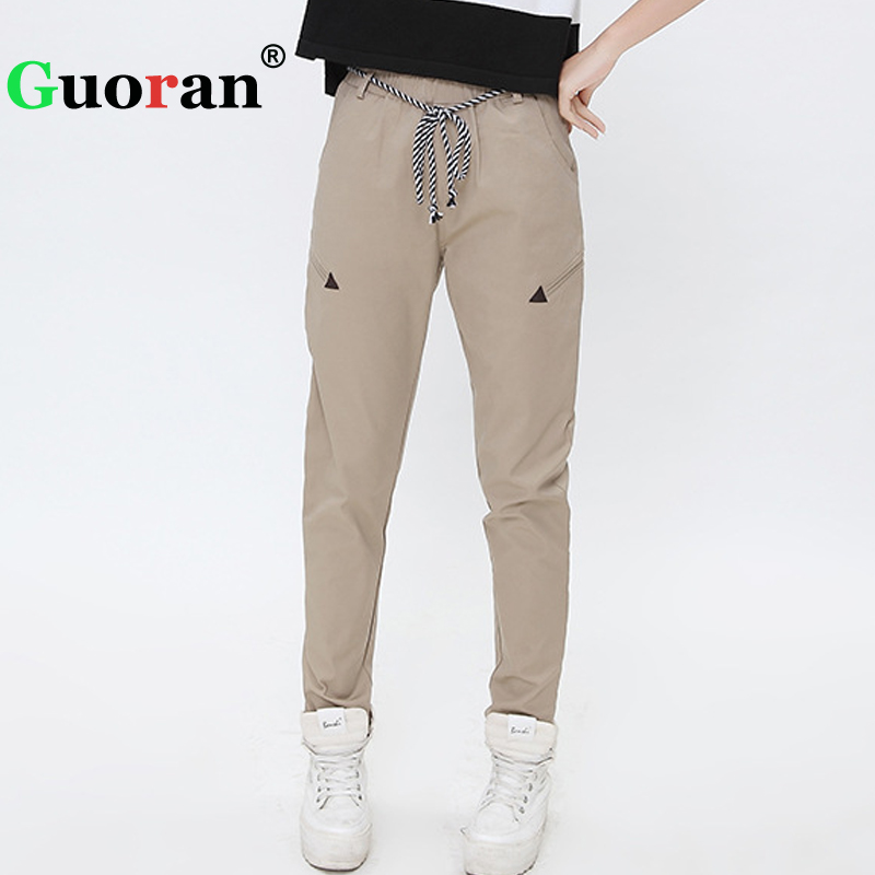 {Guoran} Lace Up Casual Women Harem Pants Plus Size 3xl 2xl White Blue Female Trousers Ladies Sweatpant All match Pencil Pants