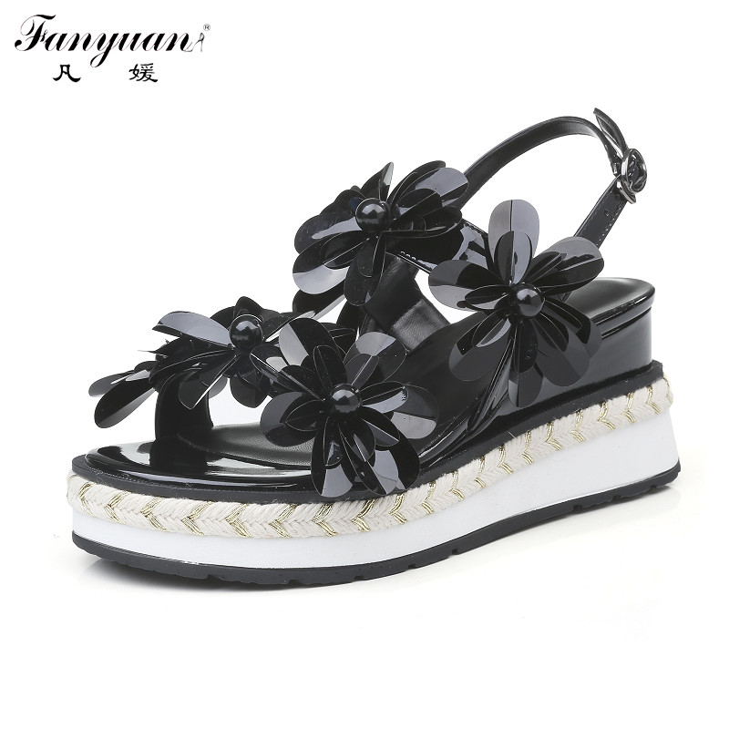 ФОТО Fanyuan Wedges Sandals Cane Bottom Low Heels Platform Shoes Women Glitter Flower Genuine Leather