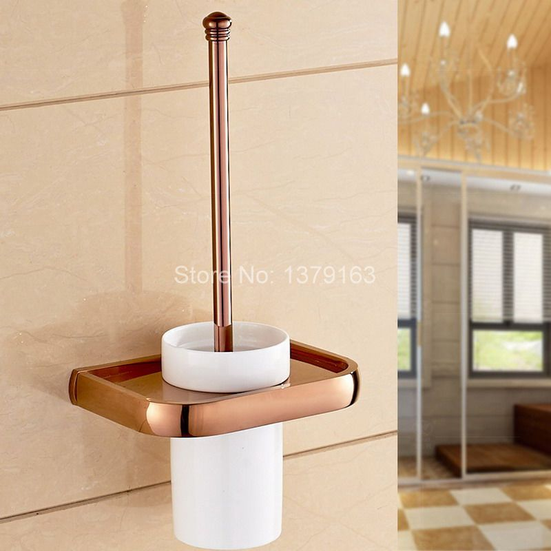 Luxury Rose Gold Brass Bath Hardware Wall Mounted Toilet Brush & Holder Set White Brush Ceramic Cup Bathroom Accessory aba869 free postage gold plate toilet brush holder with ceramic cup wall mounted flower carved