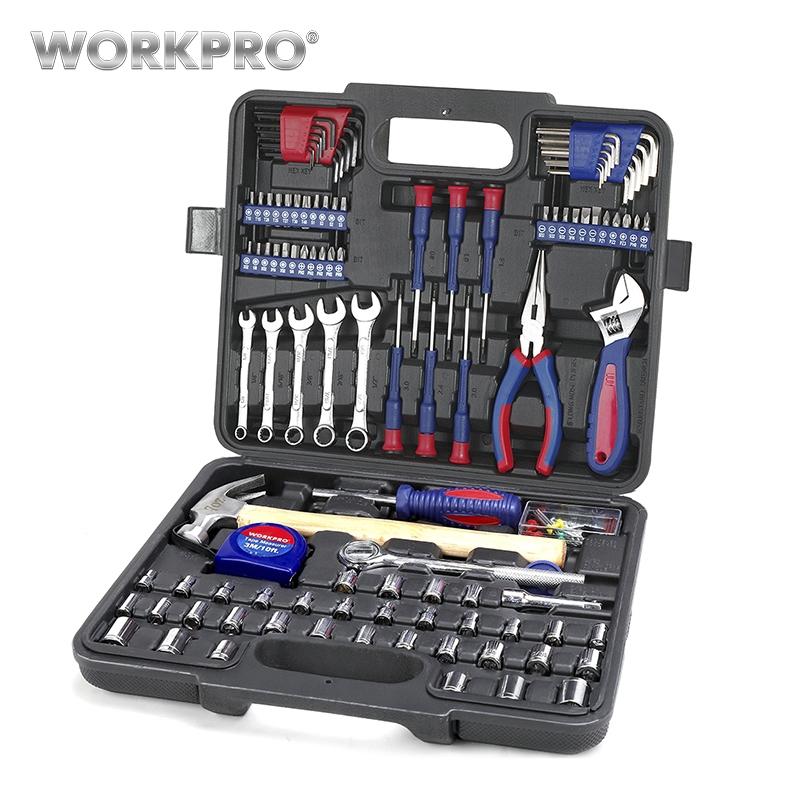 Workpro casa conjunto de ferramentas kits de ferramentas para uso doméstico soquete conjunto chave de fenda conjunto ferramentas de reparo em casa para diy ferramentas manuais
