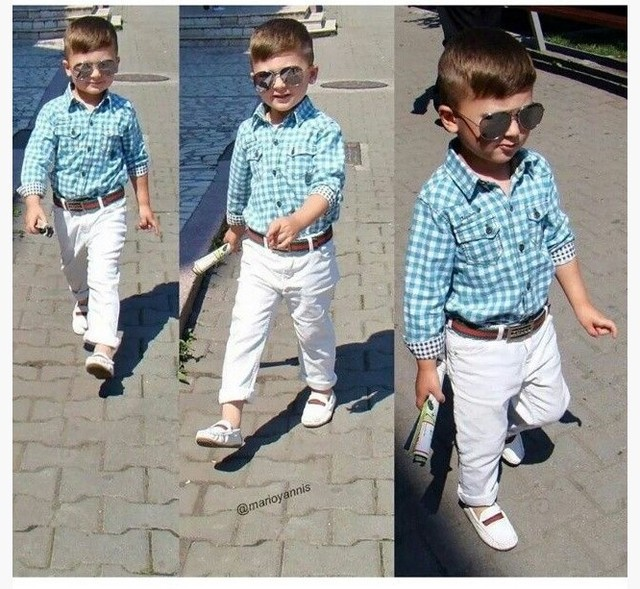 2016 Sale boy clothes suit long-sleeved shirt + pants + belt 3pcs / set plaid checkered kids gentleman clothing Free shipping