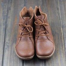 Adisputent Женщины 2019 Мода Ретро Обувь Ручного Шитья Квартиры Натуральная Кожа Мягкие Нижние Мягки Лучший!