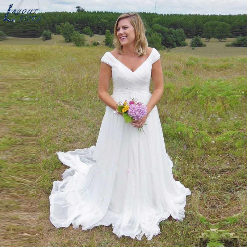 SHJ643 בציר בוהמי תחרה חתונה שמלת 2019 Boho שיפון V-צוואר חוף Ruched כלה שמלה תפור לפי מידה