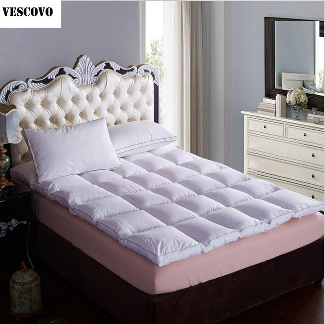 NEW Bed White Beige Pink Thickening Folding Luxury Goose Down Fiber Quilted Mattress Topper 100% Cotton Shell