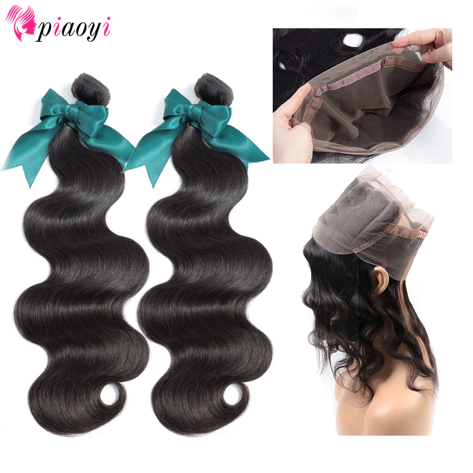 Piaoyi Hair Extension Peruvian Hair Bundles With 360 Lace Frontal Closure Pre Plucked Lace Front Closure