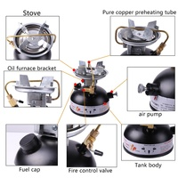 Mini Gasoline Camping Stove Stove Oil Fuel Burners Picnic Cooking Stove Burners No Noise Outdoor Cookware