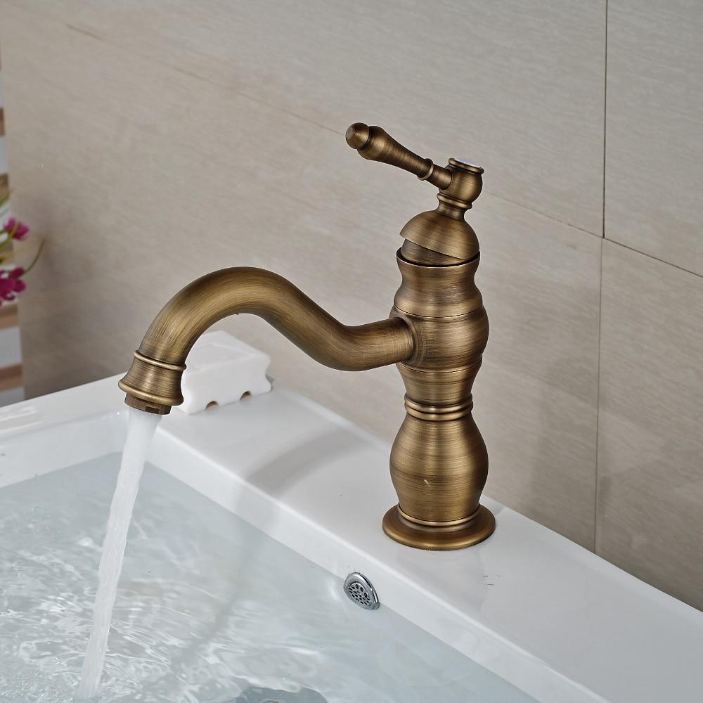 Wholesale And Retail Single Handle Hole Antique Brass Bathroom Basin Faucet Hot Cold Mixer Tap Elegant