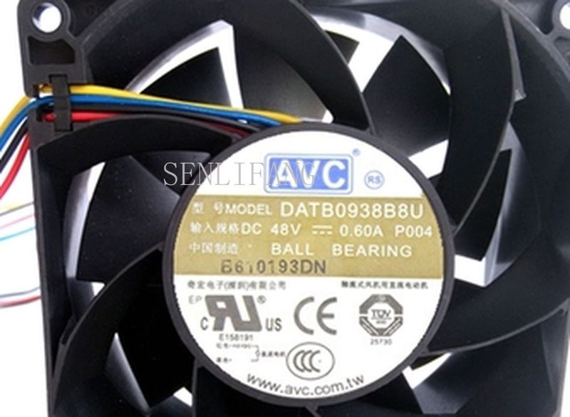 Free Shipping DATB0938B8U DC 48V 0.6A 9038 9CM 90*90*38mm 4 Wires 8U Inverter Cooling Fan